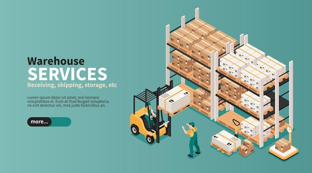 Warehouse industrial space storage pick pack orders shipping delivering logistic services isometric web banner