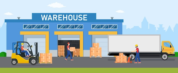Warehouse industry with storage buildings, trucks, forklift and rack with boxes.