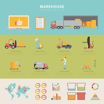 Warehouse infographics storage delivery shipping transportation business info graphic.
