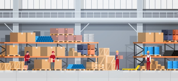 Warehouse interior box on rack and people working. logistic delivery service concept
