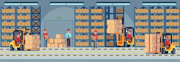 창고 내부. 창고의 창고에서 일하는 산업 공장 노동자. 지게차 및 배달 트럭 벡터 물류 개념