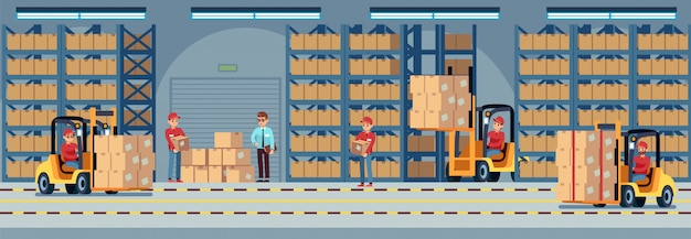 Warehouse interior. industrial factory worker working in stockroom of storehouse. forklift and delivery truck vector logistic concept