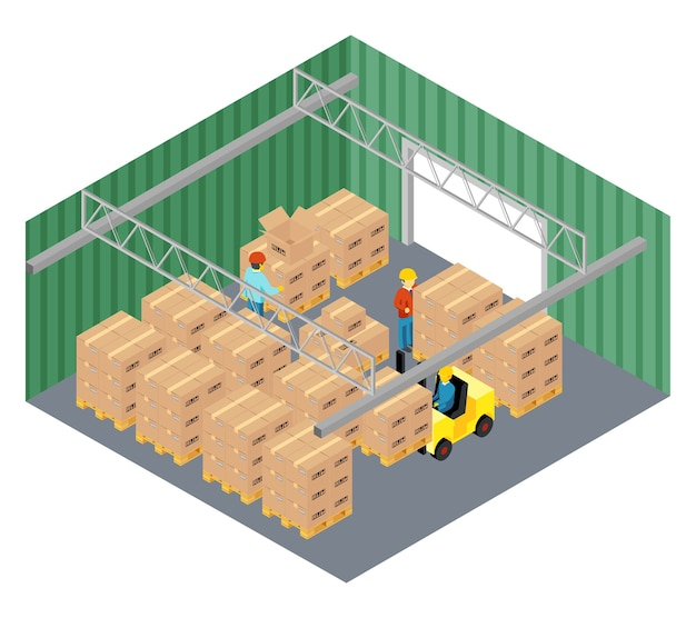 Warehouse interior in isometric view.
