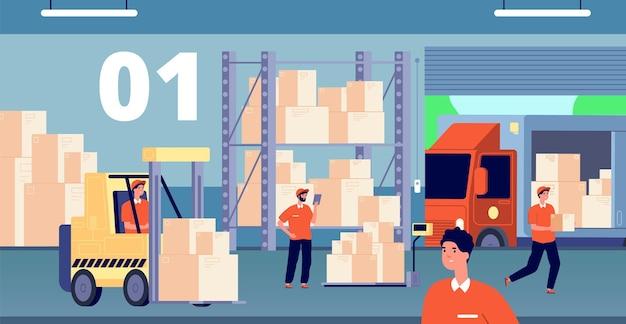 倉庫のインテリア。大規模なストレージ、倉庫内の人々。