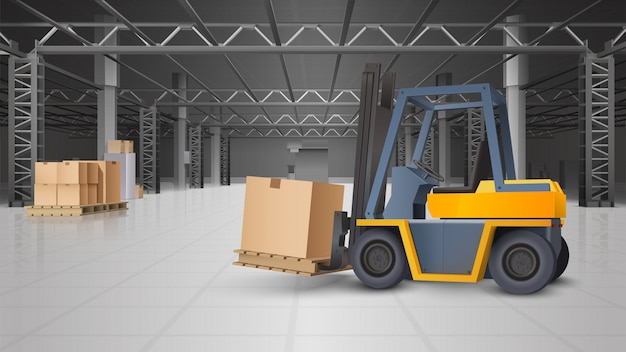 Warehouse interior and logistics background