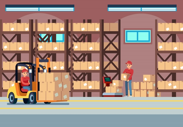 Warehouse interior. people loaders working in industry stockroom, transportation and forklift, delivery truck vector logistic concept