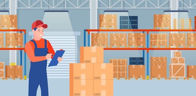 Warehouse interior with cardboard boxes on metal racks.
