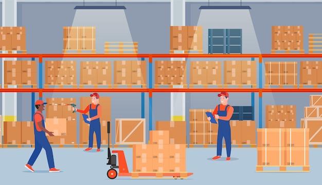 Интерьер склада с картонными коробками.