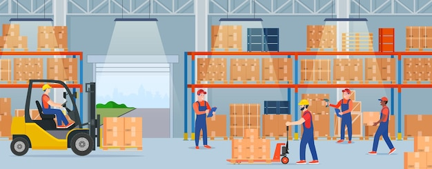 段ボール箱のある倉庫内部