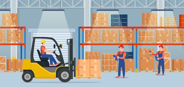 Интерьер склада с картонными коробками