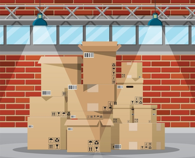 Warehouse interior with goods and container package boxes.
