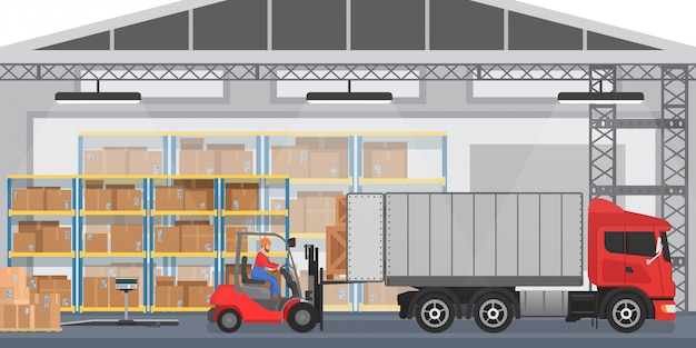 Warehouse interior with workers arranging goods boxes into a truck. warehouse modern interior wirh cargo truck