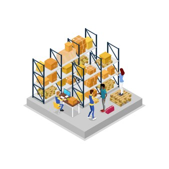 Warehouse interior with workers isometric 3d illustration