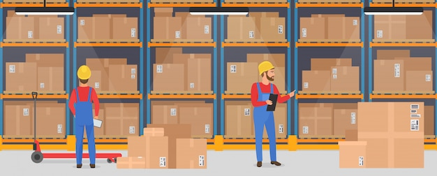 Warehouse interior with working people. logistic delivery cargo service banner concept.