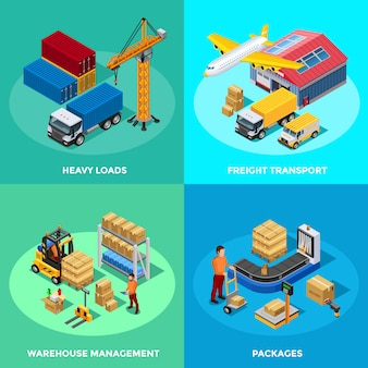 Warehouse isometric 2x2 icons set