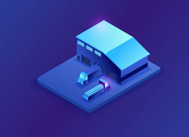 Warehouse isometric 3d illustration
