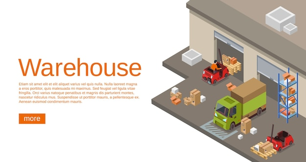 Warehouse isometric 3d of storehouse and logistics transport for web site