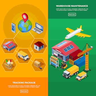 Warehouse isometric banners