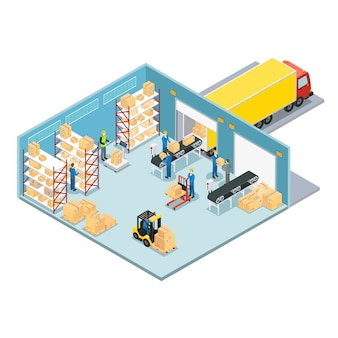Warehouse isometric composition