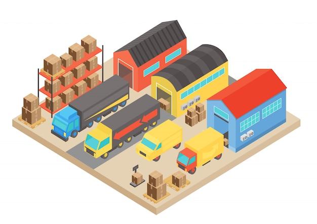 창고 아이소 메트릭 개념 구성. 직원이있는 현대식 건물 스토리지와 상자가있는 선반. 운송 물류 개념입니다.