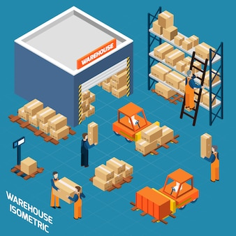Warehouse isometric icons concept
