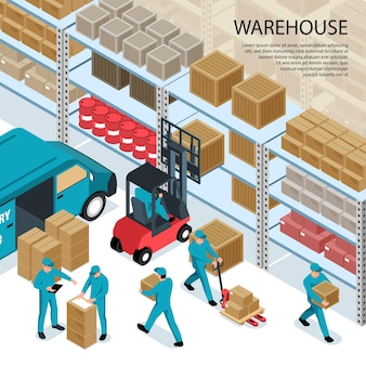 Warehouse isometric illustration with delivery truck illustration