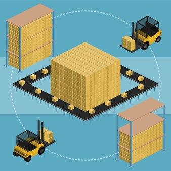 Warehouse isometric illustration.