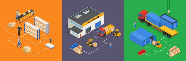 Warehouse isometric illustrations