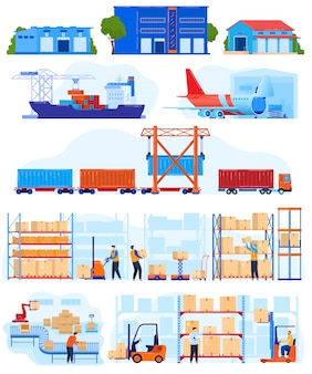 Warehouse logistic service vector illustration set.