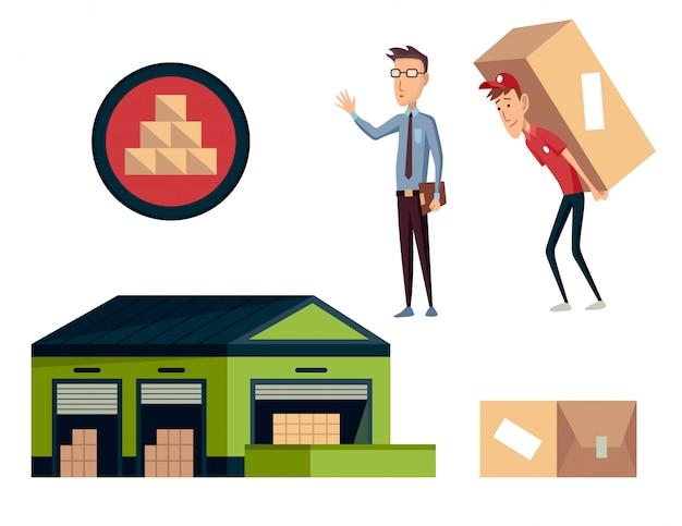 Warehouse. logistics illustrations collection.