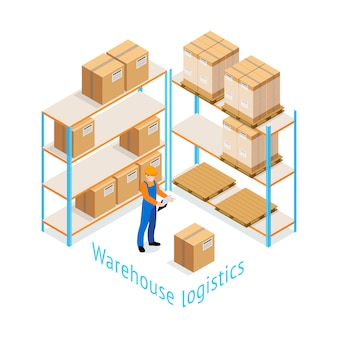 Warehouse logistics isometric design