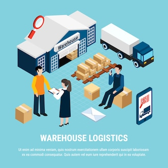 Warehouse logistics isometric with delivery workers on blue 3d illustration