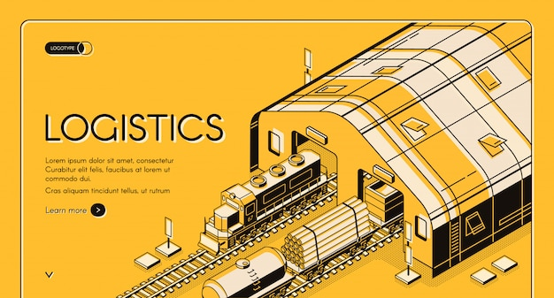 Warehouse logistics, railway wood delivery and transportation process