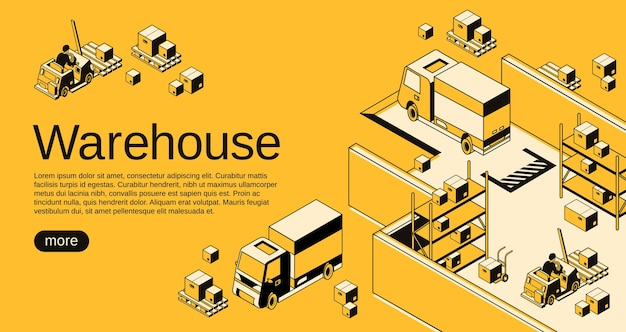 Warehouse logistics and shipment illustration in isometric black thin line art