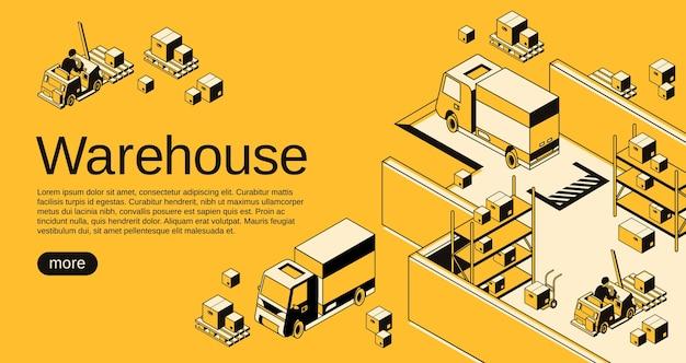 Logistica di magazzino e spedizione illustrazione in nero isometrico linea sottile arte