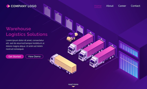Warehouse logistics solutions isometric landing