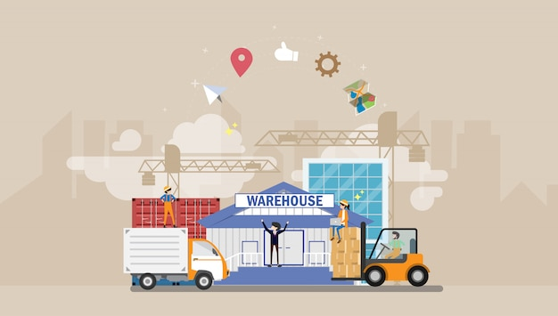 Warehouse and logistics tiny people character illustration