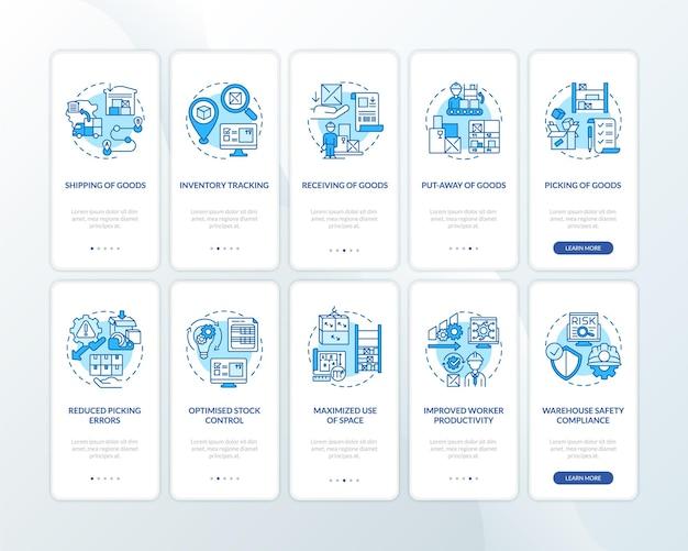 コンセプトが設定された倉庫管理の青いオンボーディングモバイルアプリページ画面