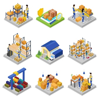 Warehouse management isometric 3d set