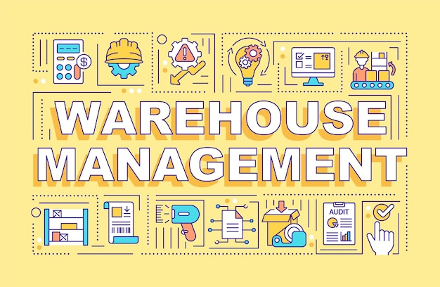 Warehouse management word concepts banner