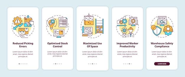 개념 삽화가 포함 된 창고 구성 및 최적화 온 보딩 모바일 앱 페이지 화면