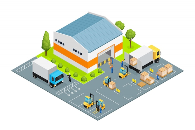 Warehouse outside view isometric