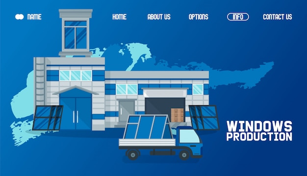 Warehouse outside, window production website  illustration. product transportation by cargo, global delievery working