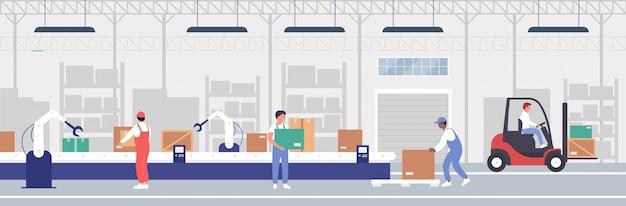 倉庫包装プロセスオートメーションイラスト、倉庫のコンベアベルトの背景に取り組んでいる漫画労働者の人々