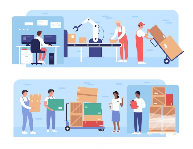 창고 포장 작업 삽화. 로봇 팔 장비, 팔레트에로드 상자, 흰색에 고립 된 창고 로딩 프로세스와 창고 컨베이어에서 일하는 만화 플랫 작업자 사람들