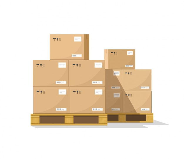 Warehouse parcel boxes stack