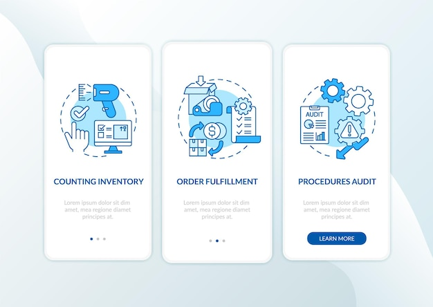 Warehouse procedures blue onboarding mobile app page screen with concepts