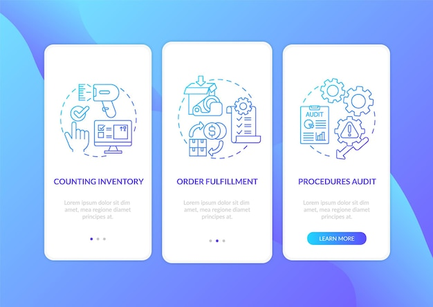 Warehouse procedures dark blue onboarding mobile app page screen with concepts