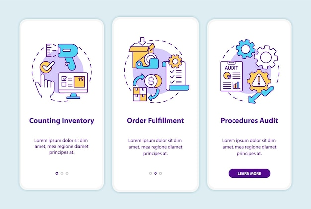 Warehouse procedures onboarding mobile app page screen with concepts illustrations