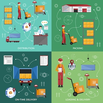 Warehouse process infographics four banners.
